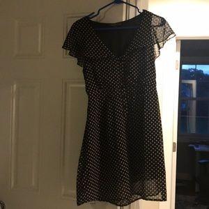 Black and Tan cap sleeve dress